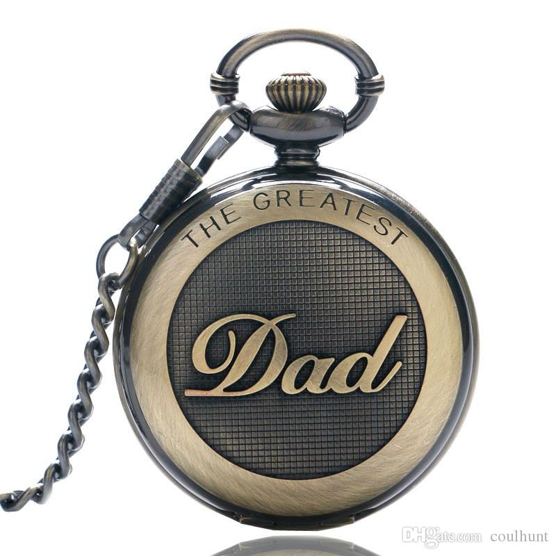 Retro The Greatest Pocket Watch Necklace DAD Quartz Pocket Watch Casual Necklace Antique Style Steampunk Men Chain Watch Father's Day Gift