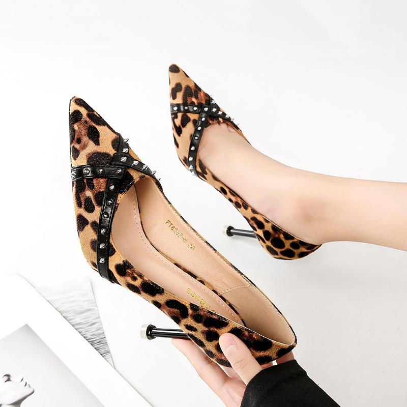 4982274860085 Sexy Leopard Lady High Heels Dress Shoes Pointed Toe Pu Leather ...