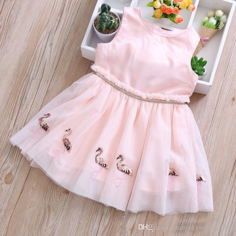 a8def49af5f0f Baby Girls Flamingo Dress 2019 New Summer kids Flamingo Sequins Sleeveless  Vest Gauze Dresses Children Fashion Pink Princess Party Dress