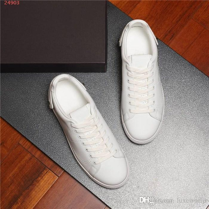 Men White shoe Collection Leather Sneakers, Fashion Men Trainers Outdoor Leisure travel Sneakers Size 38-44