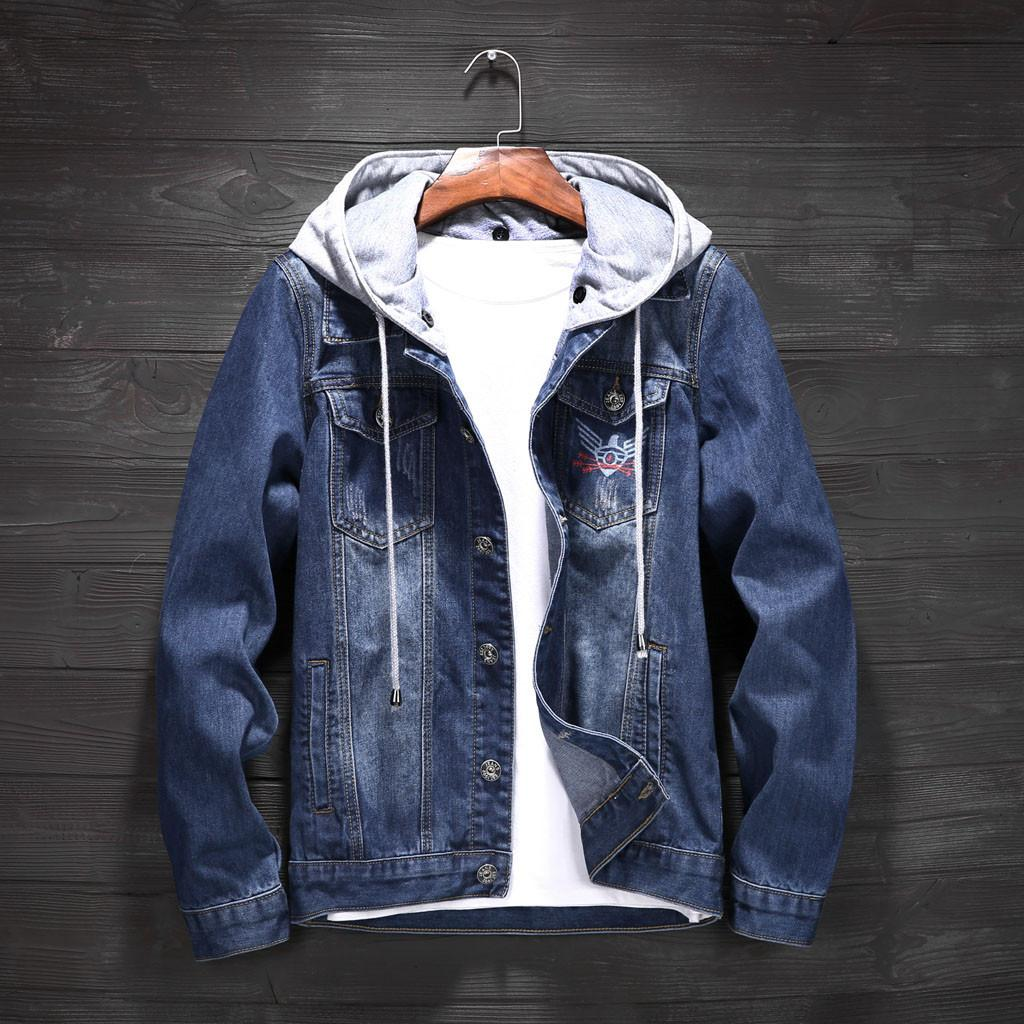d8e0949dc73 Denim Jacket Men Hooded Sportswear Outdoors Casual Fashion Jeans Jackets  Hoodies Cowboy Mens Jacket And Coat Plus Size 3XL 4XL Suede Jackets Brown  Leather ...