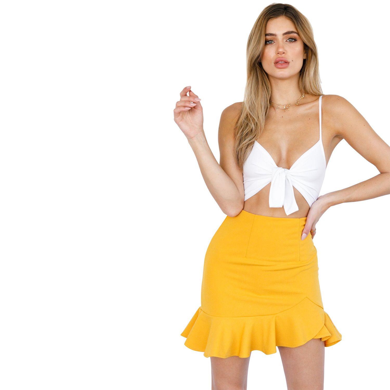 dbd69a24f 2019 Women Sweet Ruffled Zipper Asymmetrical Skirt Irregular Ladies Casual  Chic Pleated Mini Skirts Sexy Streetwear Women Skirt Bottom From Janisa18,  ...