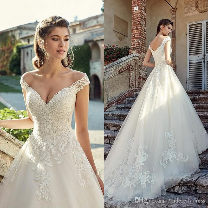 2019 New Sexy Off Shoulder Lace Wedding Dresses Applique Tiered Tulle Garden Elegant Cheap Wedding Dress Bridal Gowns Vestidos De Novia