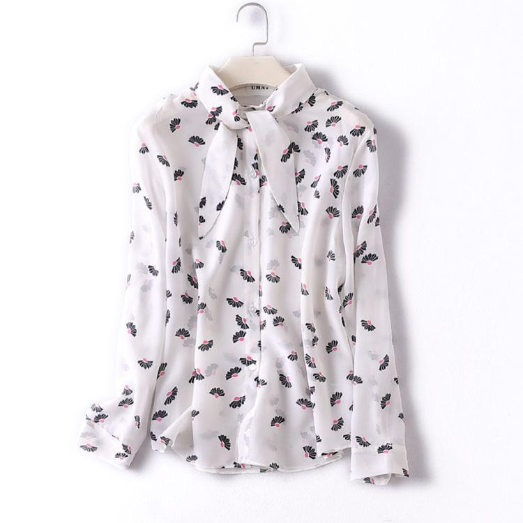 5412cc21ba7c1 2019 100% Natural Silk Blouses OL Solid Color Long Sleeve Real Silk Print  Blouse Tops For Women Office Wear Shirts Work Blouses From Veilolive
