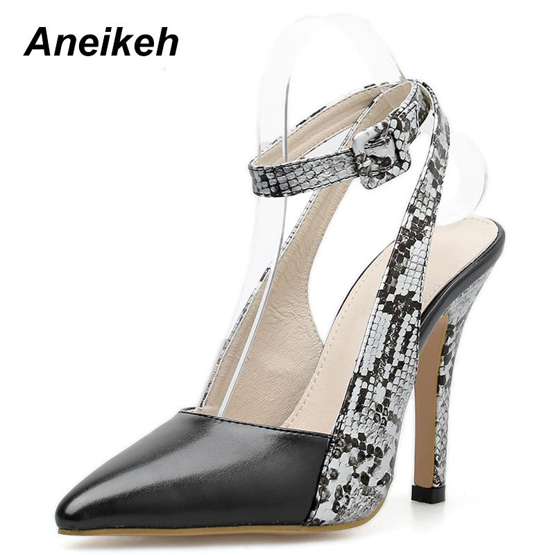 dbcba0008b04 Dress Aneikeh 2019 Sexy Pu Pumps Slingbacks Thin High Heel Pointed Toe  Leopard Print Women Shoes Neutral Office Daily Black Size 35 40 Shoes For  Women Cheap ...