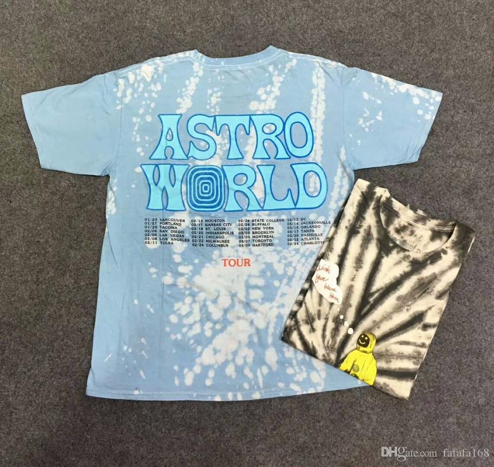 2755aa8427b2 2019 Tie Dyeing Travis Scott Astroworld Tour Astronaut Tee T Shirt Hip Hop Men  Women 1a:1 Best Quality Short Sleeve Mens T Shirts Fun Shirt Designs For T  ...