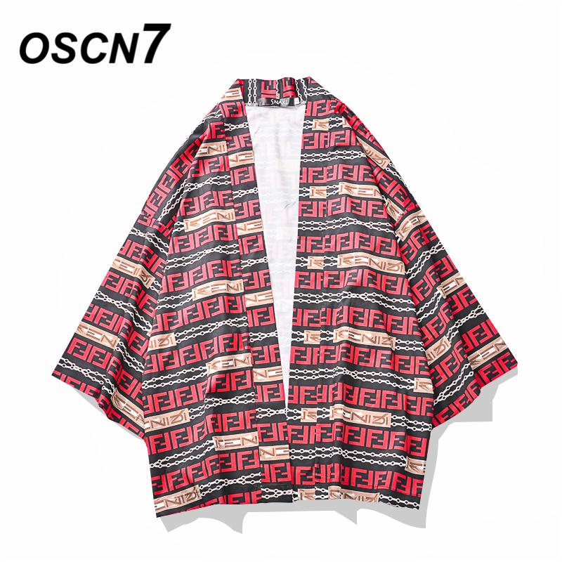 OSCN7 Printed Kimono Cardigan Shirt Men Street 2019 Korea Three Quarter Sleeve Coat Shirts Harujuku Mens Shirt 675