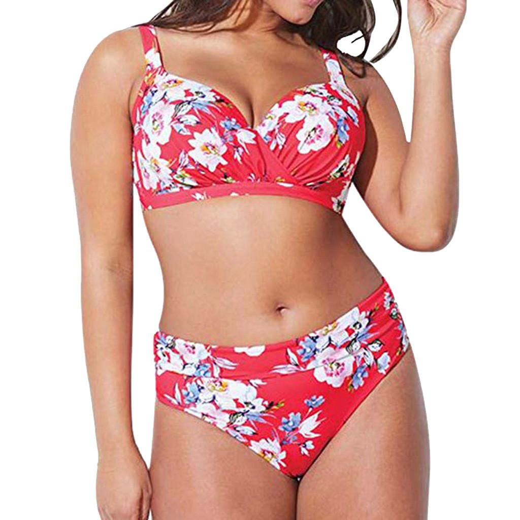 92db987318 Two Piece Swimsuit New Print Swimwear Women Sexy Plus Size High ...