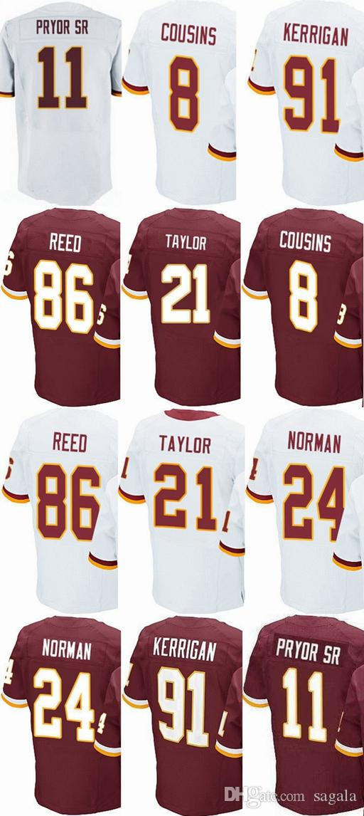 low priced 06462 c77bb Mens Women #8 Kirk Cousins 21 Sean Taylor 24 Josh Norman 44 Riggins 86 Reed  jersey womens kids red white 100% stitched jerseys