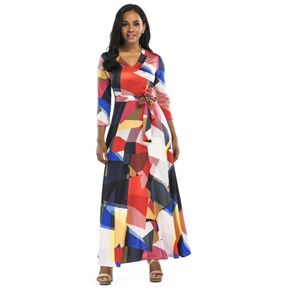 2c3f6e8d4ccc Women Long Maxi Summer Dress Block 3 4 Sleeve Boho Beach Dress Spring Summer  Evening Party Dress With Sashes Vestidos Lady Dress Evening Dresses Plus  Size ...