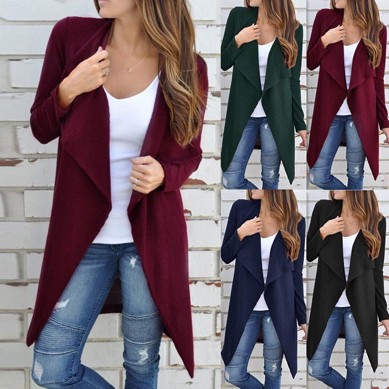 Women's Long Sleeve Cardigan Ladies Casual Holiday Coat Knitted Outerwear Jacket