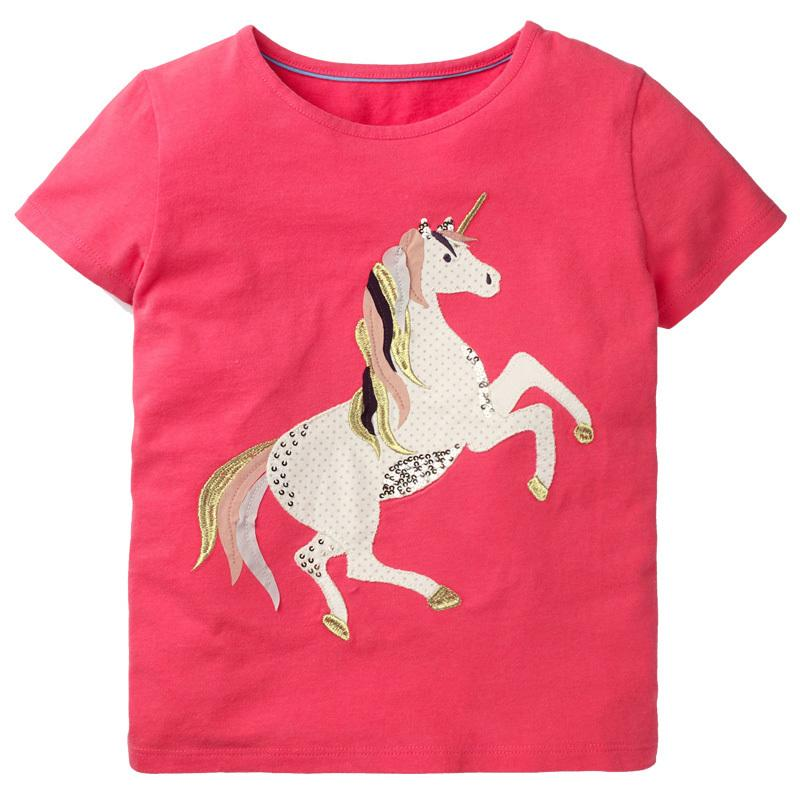 fb5ddf2e1 Compre Ropa De Niña Ropa Para Niños Camisetas Para Niñas Tops De Verano Unicornio  Camiseta Fille Ropa Para Niños Animal Print Girls Camiseta 2 7Y A  22.03 ...