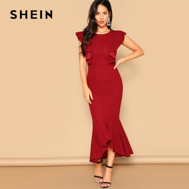 70805572f3 SHEIN Red Ruffle Trim Fishtail Hem Butterfly Sleeve Bodycon Long Plain Dress  Women 2019 Spring Sleeveless Slim Party Dresses Blue Dress Women Party  Dresses ...
