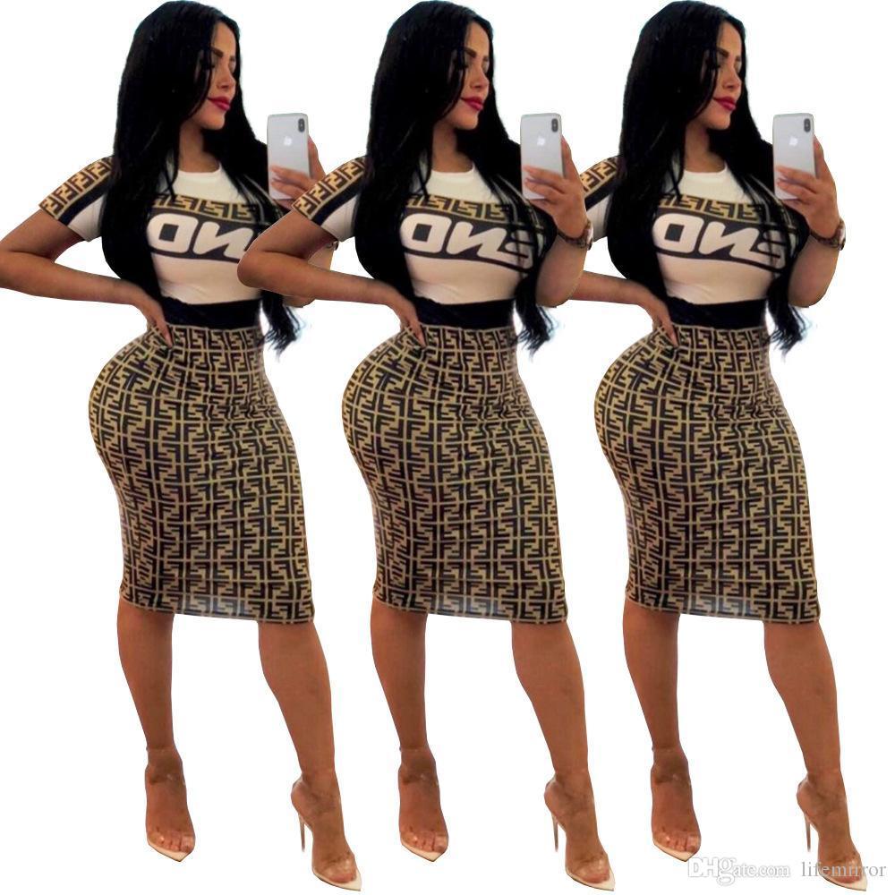 ee3463560 Letra de moda F Imprimir Mujeres Casual Vestido de dos piezas Vestido de  manga corta Crop Top Bodycon Falda hasta la rodilla Sexy Club Party Sets ...