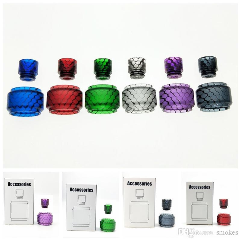 New Colorful Snakeskin Resin Replacement Tube Cap Drip Tip Kit For Falcon  King TFV8 Big Baby TFV12 Prince Uforce T2 Merlin Mini Tank