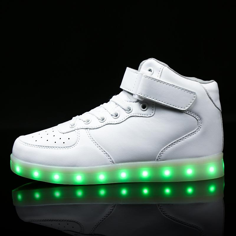 dcdd397c15d77 Kids Led Usb Charging Glowing Sneakers Children Hook Loop Fashion Luminous  Shoes For Girls Boys Men Women Skate Shoes #25-46 Y190523