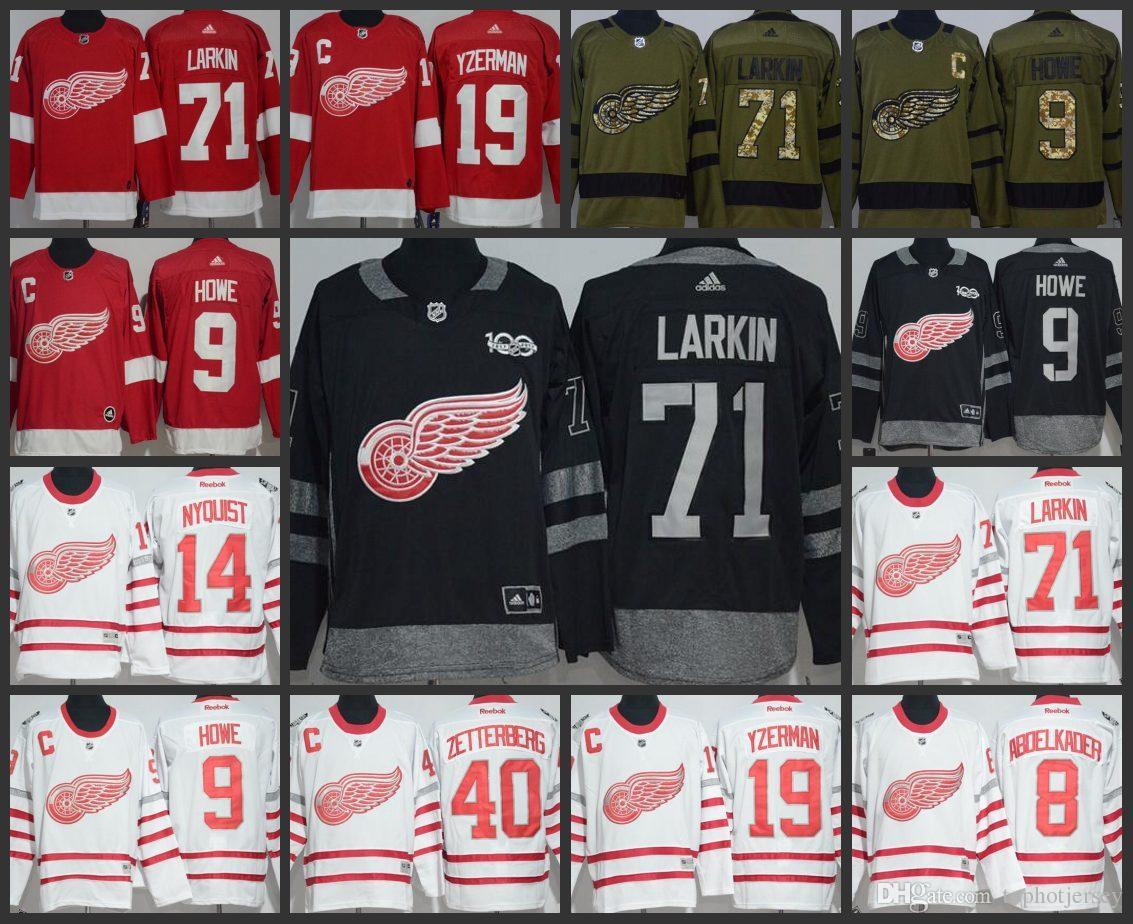 2019 Mens Detroit Red Wings Jersey 71 Dylan Larkin 9 Gordie Howe 14 Gustav  Nyquist 8 Justin Abdelkader Hockey Jerseys From Limited jerseys 65623d0fc