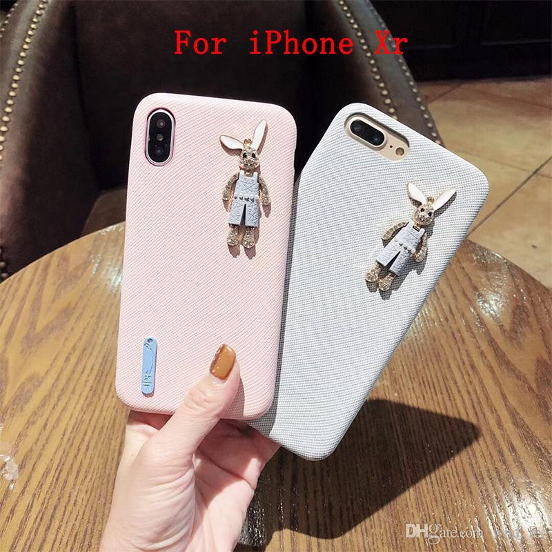 2 Styles Cell Phone Case Accessories Suitable for iPhone Xr Fresh and lovely rabbit silicone soft shell phone case