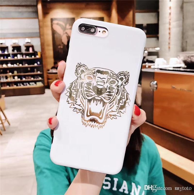 Mytoto LUDI Fashion Europe Style Gold Tiger Phone Case for iPhone 8 Case for iPhone X 6 6S 7 8 Plus Soft Silicon Black White Phone Capa