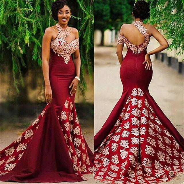2019 Elegant Burgundy One Shoulder Prom Dresses Appliques Mermaid Sexy  Backless Formal Evening Occasion Party Gown Custom Made Hot Sale Short Lace  Prom ... ffea6e95e