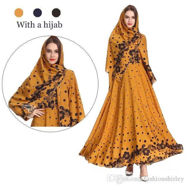 d1c0db6ff6fe9 Muslim Long Dress With Inner Hijab Scarf Kimono Abaya Dubai Oman Bangladesh  Turkish Kaftan Marocain Caftan Islamic Clothing