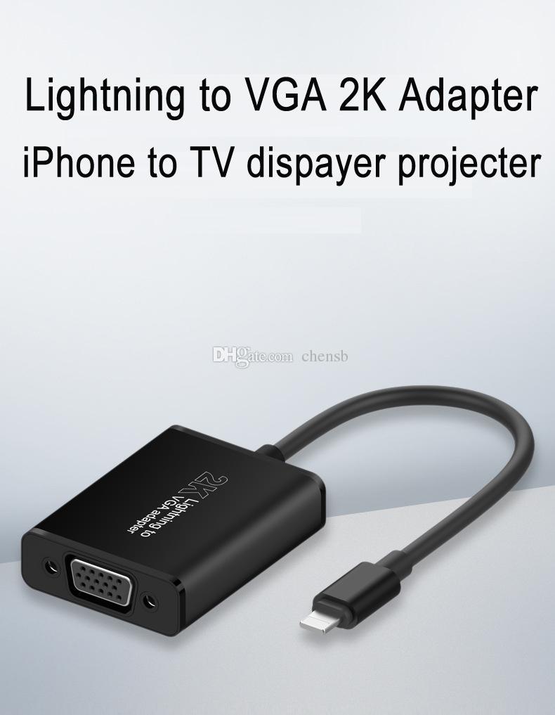 155c33a2e13 Compre IPhone IPad Para Adaptador VGA, Relâmpago Para VGA Digital 2K Cabo  Adaptador Conversor Para Projecter Monitor De Chensb, $17.07 | Pt.Dhgate.Com