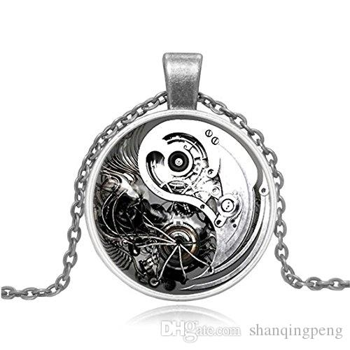 2019 new personalized superhero necklace Steampunk personality men's pendants Round glass pendant necklace 3 colors available