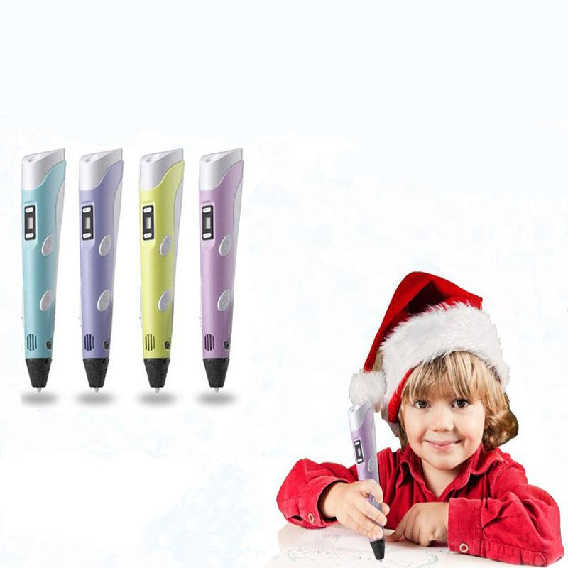 4styles 3D Drawing Pen DIY Printer Pen Filament 1.75mm Arts 3D Printing Pen LCD Educational Gift For Kids Painting Drawing toy FFA1865