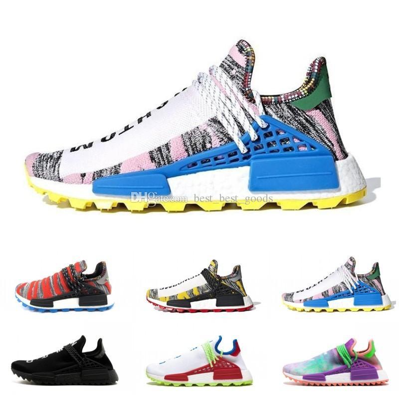 classic fit be6d1 88b09 With box Human Race Hu trail pharrell williams men running shoes Nerd black  blue women mens trainers fashion sports runner sneakers