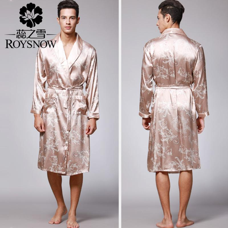 Silk Nightgown Robe Set Sexy Mens Long Sleeved Silk Bathrobe Mens