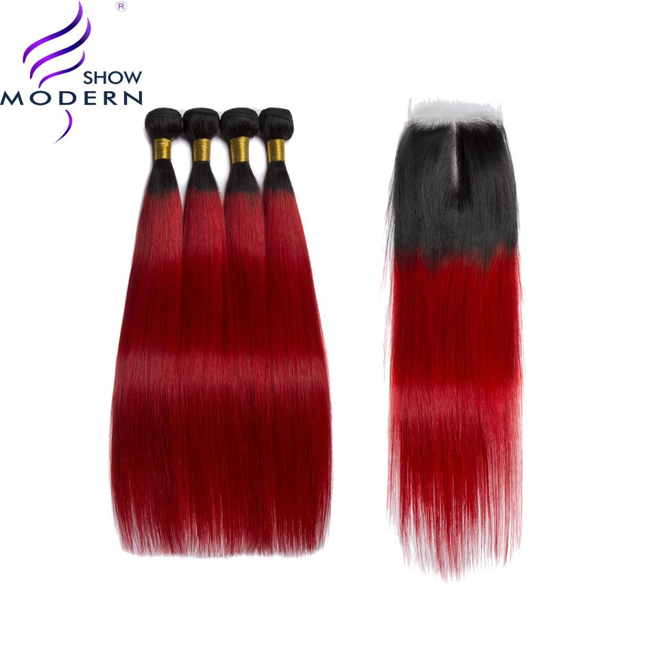 Modern Show Brazilian Hair Straight Bundles With Frontal Ombre Hair Bundles 1b Red Non Remy Human Hair