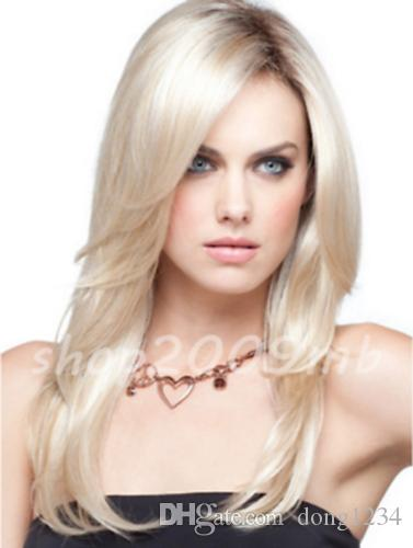 Fashion Medium Graceful Long Layered Straight Blonde Hair Women S Lady S  Wigs Ladies Wigs Ombre Synthetic Wigs From Dong1234 3da066f7da