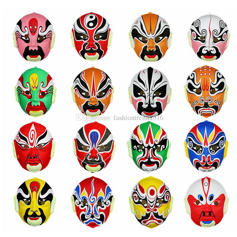 Wholesale Ethnic Peking Opera Party Masks Chinese Traditional Full Face Plastic Flocking Mask for Halloween