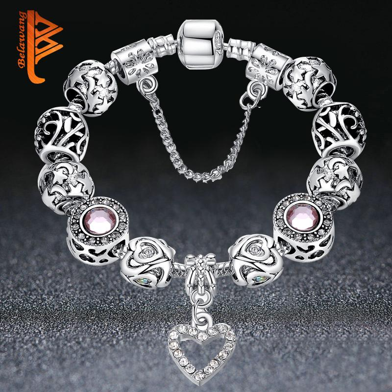 High Quality European Silver Heart Pendant Beads Bracelets&Bangles with Crystal Charm Beads for Women DIY Jewelry with Safe Chain K3553