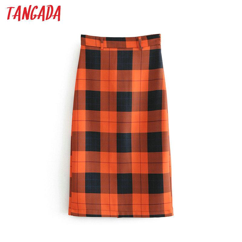 e1d380f6b Tangada para mujer falda midi a cuadros dulce 2018 moda vintage cintura  alta lápiz falda oficina damas trabajo ropa de estilo coreano 6A57 D19011602