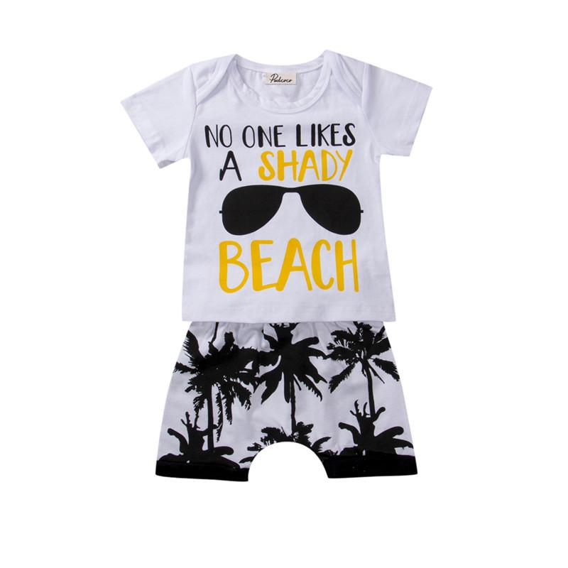 wholesale 0-3T Newborn Baby Boy girl clothes set 2Pcs sunglasses T-shirt Tops+Palm print Shorts Clothes Set kids children