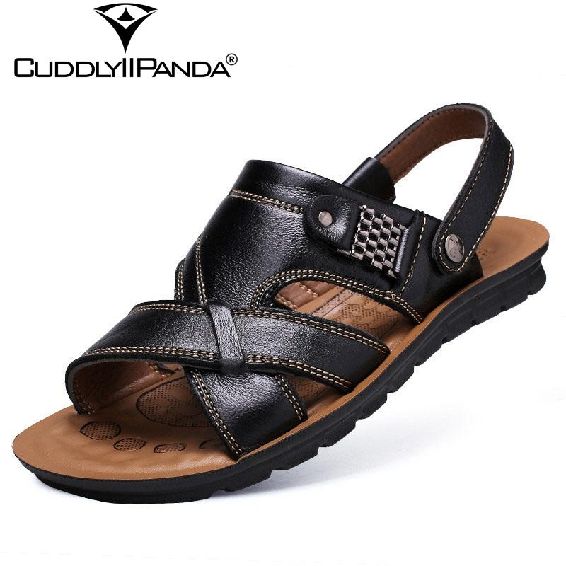 201a239f4bb5 CuddlyIIPanda 2019 New Summer Cool Metal Chains Men S Beach Sandals Genuine  Leather Sandals Large Size Casual Sandalias Hombre Shoe Shop Cute Shoes  From ...