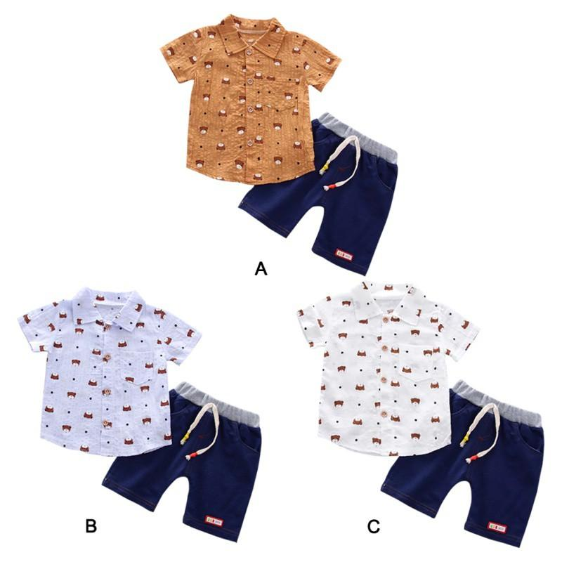 f0cb88761dce 2019 Toddler Baby Boys Short Sleeve Animal Print T Shirt Tops+Denim Shorts  Casual Outfits Clothes Sets From Newyearable, $37.95 | DHgate.Com