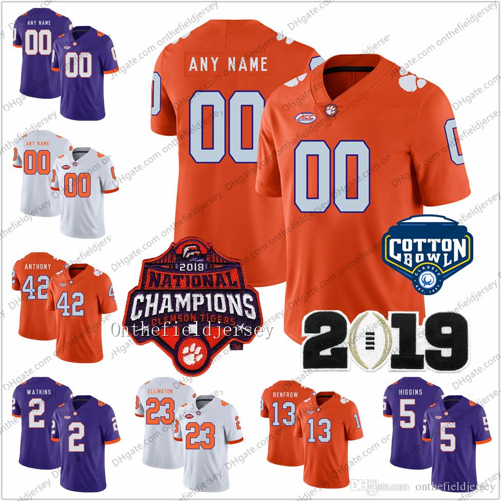 7270af462d8 2019 Custom Clemson Tigers 2018 National Champions Any Name Number#6  DeAndre Hopkins 8 Justyn Ross Cotton Bowl College Football Jerseys S 3XL  From ...