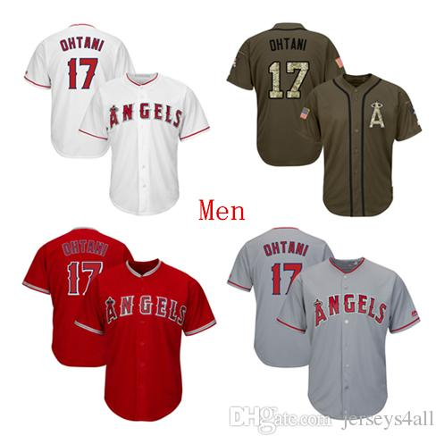 sports shoes 14986 f7cca Mens Los Angeles Angels Baseball Jerseys 17 Shohei Ohtani Jersey Red White  Gray Grey Green Salute Players Weekend All Star Team Logo