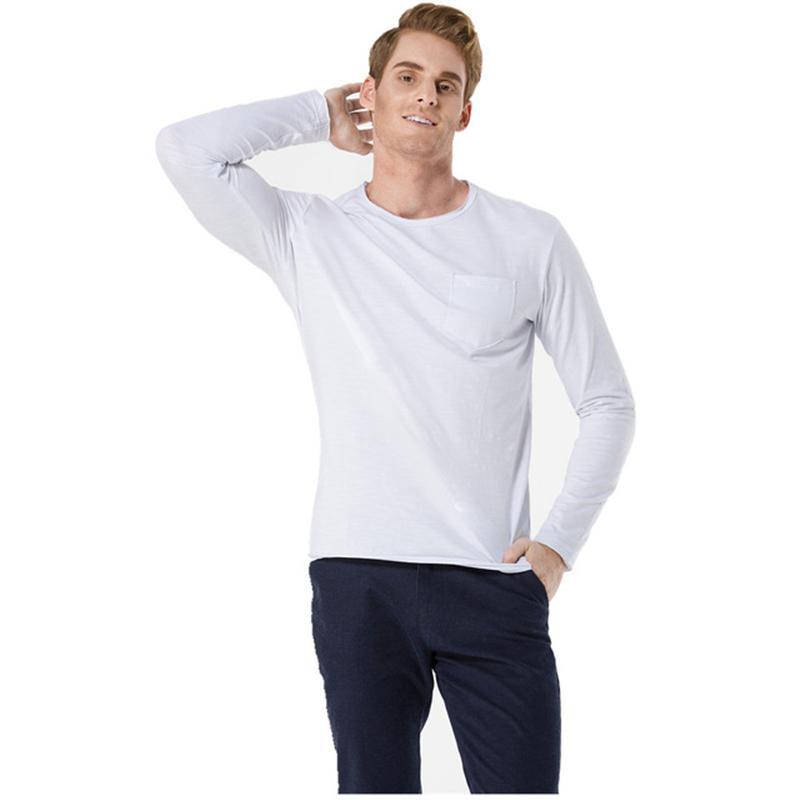 0ba5459375f8 Camisas de algodón Ropa interior de manga larga Hombres Negro Camiseta  blanca V Cuello Primavera Otoño Camisetas Top