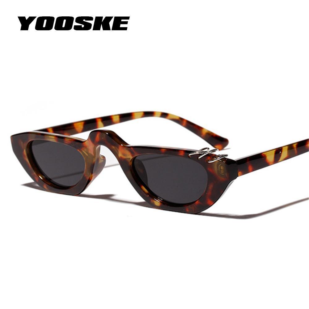 ba11d49717 Compre YOOSKE Moda Cat Eye Sunglasses Mujeres Marca De Lujo Hombres Gafas  De Sol Elegantes Con Tapas Planas Pequeñas Gafas De Sol UV400 Shades Para  Mujeres ...