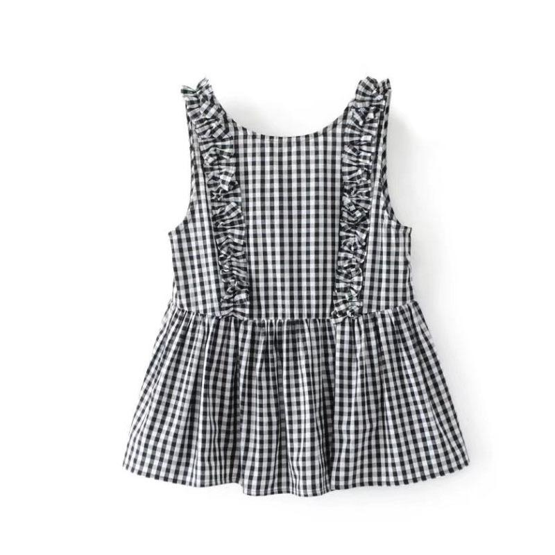 e385f346b4c 2019 Vadim Women Sweet Ruffles Plaid Pleated Shirts Buttons Sleeveless  Backless Checked Blouse Ladies Summer Casual Tops Blusas From Caicaijin09