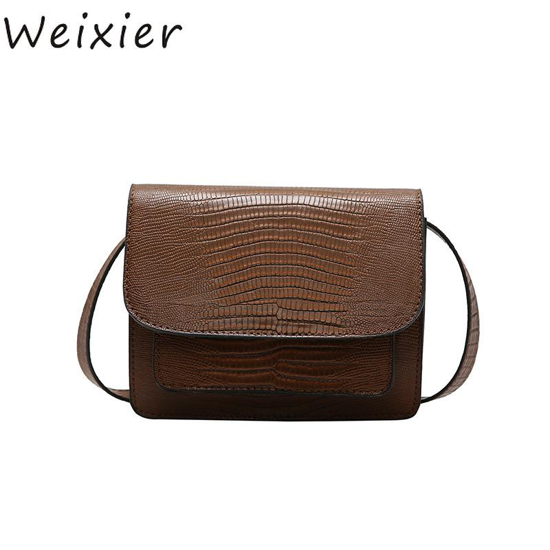9b98fc4466fbc WEIXIER Retro Female Square Bag 2018 Quality PU Leather Women Bag Crocodile  Pattern Tote Lock Shoulder Messenger Bags LY 39 Black Handbags Weekend Bags  From ...