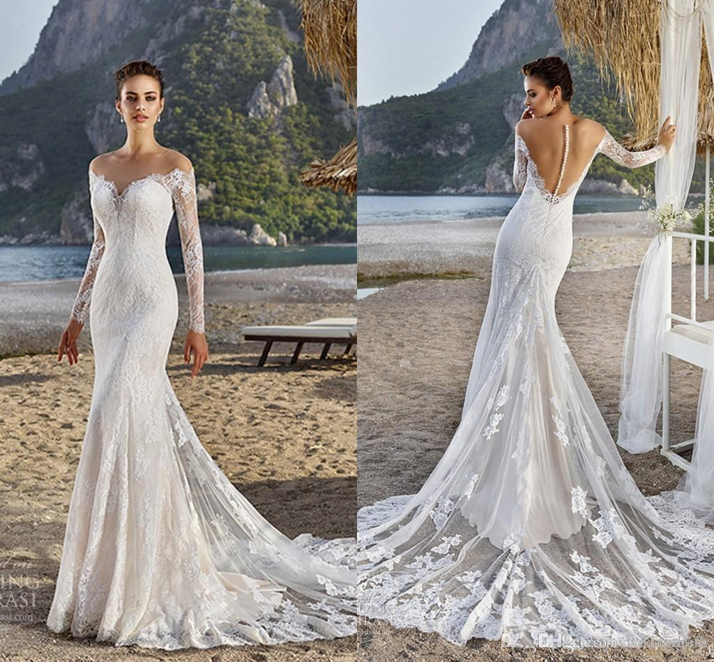 Berta Sheer Neck Full Lace Appliques Mermaid Wedding Dresses 2019 Vintage Covered Button Illusion Back Long Sleeves Bridal Gowns Sweep Train