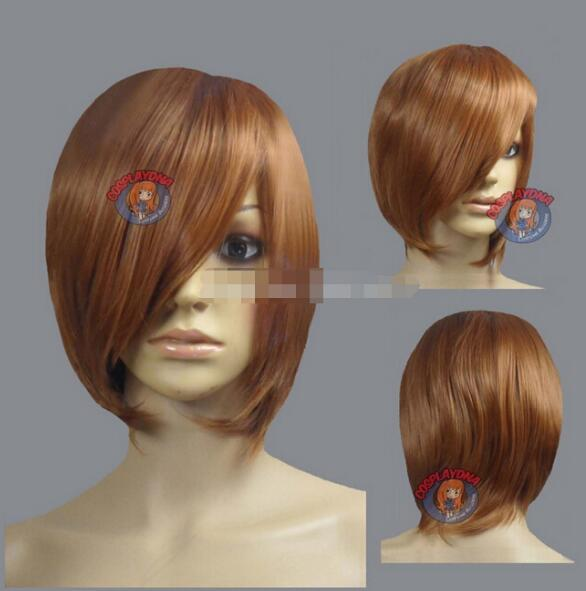 FREE SHIPPING + Light Brown Layer Bob Cut Short Cosplay Wig - 16 in ch High Temp - CosplayDN Kanekalon hair no lace front wigs