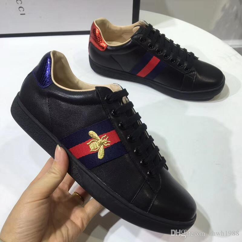 43f4b8e7c74 discount Salehigh With Original Box Mens Womens Unisex Ace Embroidery  Printing White Genuine Leather Shoes Brand Luxury Sneakers GUCCI Red And  Black Hair ...