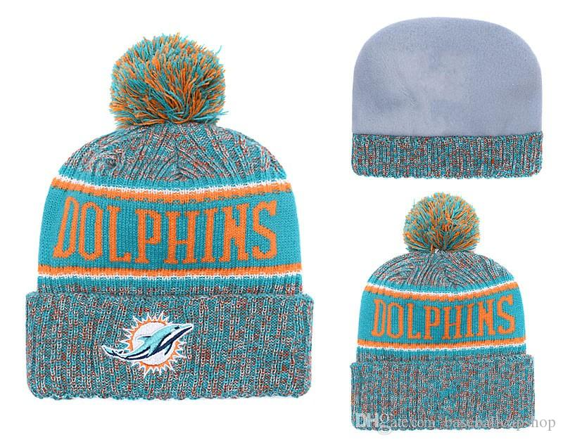 e8b8dbf09 ... best 2018 mens new miami dolphins knitted beanie cap football packers  striped sideline cuffed pom beanie