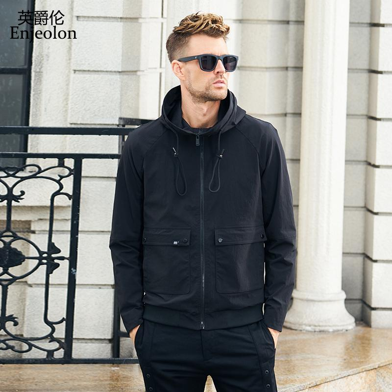 Enjeolon brand new hoodies Bomber jackets coat men fashion black solid Mens jcaket 3XL coats hooded collar jacket caot JK0905