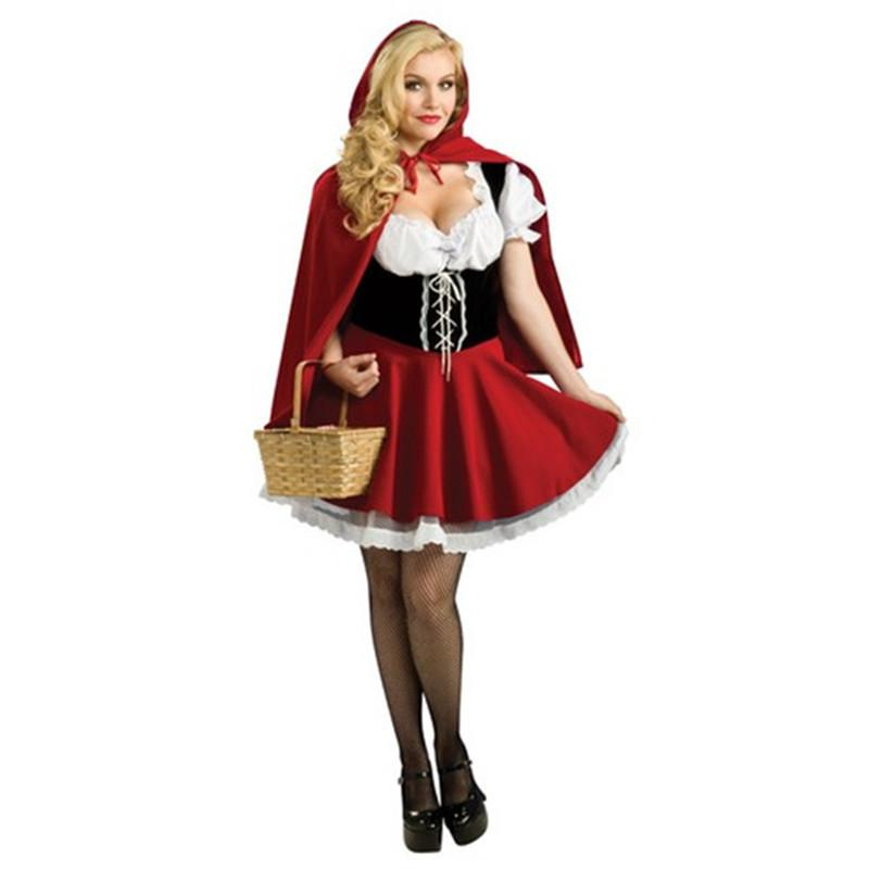 Ladies Sexy Little Red Riding Hood Costume Adult Women Halloween Party Cosplay Fancy Dress Plus Size S-6XL